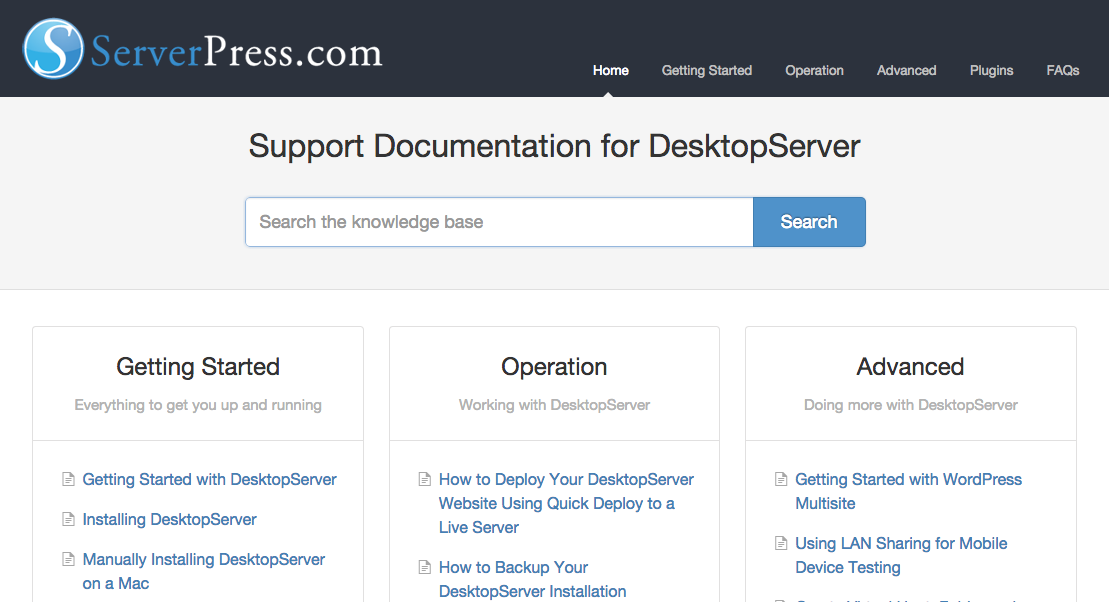 Check Out The New DesktopServer Documentation Center!