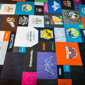 Andrea Rennick Creates Quilts From WordCamp Tshirts. It Is All Hand-stitched And 100% Amazing!