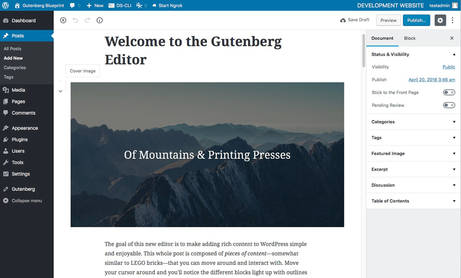 Test WordPress With Gutenberg Using DesktopServer With This FREE Gutenberg Blueprint